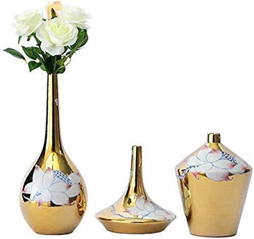 Jarrón Grave Creativa Sencillez Cerámica Adornos Hechos a Mano Escultura Regalo de Boda Oro 3 Pieza Juego 20 * 28 cm Accesorios para el hogar para Flores