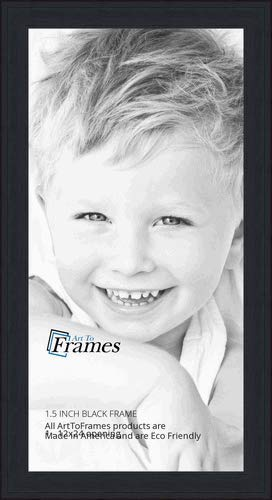ArtToFrames 12x24 Inch Black Picture Frame, This 1.5' Custom Wood Poster Frame is Black Stain on Pine, for Your Art or Photos, WOM0066-80206-YBLK-12x24