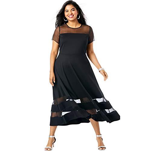 Roamans Women's Plus Size Organza Trim Dress - Black, 16 W
