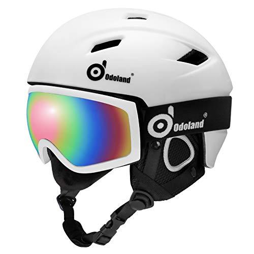 Odoland Skihelm und Skibrille Set, Snowboardhelm mit Snowboardbrille für Erwachsene und Kinder, Schneebrille UV 400 Schutz Windwiderstand Snowboard Brille zum Skifahren und Bergsteigen Weiß S-50-53cm