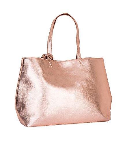 SIX Großer Damen Shopper: Metallic Handtasche für Freizeit und Alltag, abnehmbare Innentasche, Druckknopf-Verschluss, rosé-me (726-162)