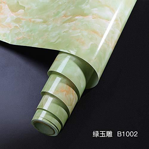 Dikke waterdichte en oliebestendige imitatie marmer patroon Stickers behang vensterbank kast Stickers 60厘米宽/每米 B1002 Green Jade Carving