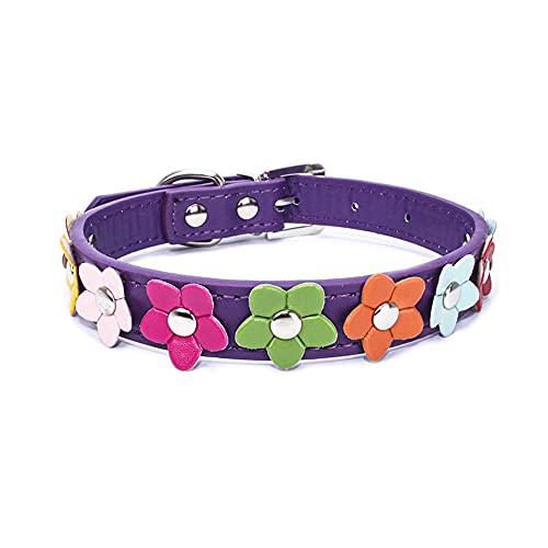 Yiwong Collar Flor para Perro y Gato + Correa para Perros, Collar de Perro PU con Flores de Colores, Collar Ajustable para Gatos y Cachorros