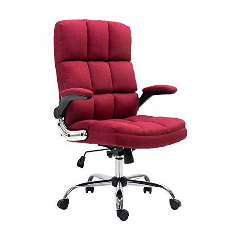 Mendler Bürostuhl HWC-J21, Chefsessel Drehstuhl Schreibtischstuhl, höhenverstellbar - Stoff/Textil weinrot