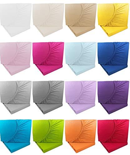 Doppelpack Kinder Jersey Spannbetttuch/Spannbettlaken 70x140-2x Natur -100% Baumwolle Rundumgummi