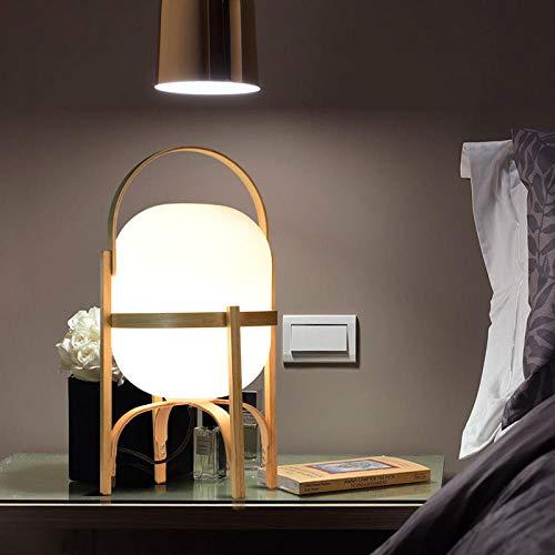 LANKOULI Naturholz Glas Tischlampe Schlafzimmer Nachttischlampe E27 LED Stehlampe Licht für Wohnzimmer Studie Tischplatte Beleuchtung-US-Stecker