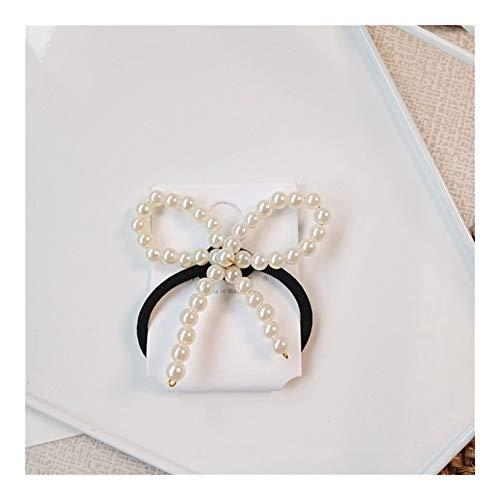 YUNGYE Gomme Bow épingles à Cheveux Perle coréenne Pinces à Cheveux for Les Femmes Couvre-Chef Bow-Noeud Cravate élastique Perles Porte-Ponytail Rubbe