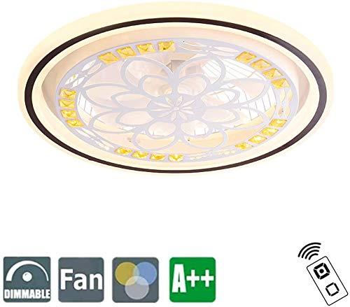 Ventilador de techo moderna con, regulable LED de luz de techo de cristal de luz con lámpara ventilador de techo ventilador, control remoto, 3-velocidad ajustable, para salón habitación de los niños