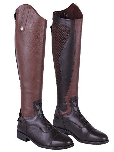QHP Damen Lederreitstiefel Nina mit Anti-Slip Beschichtung an der Innenseite Normale Wadenweite (39, Braun)
