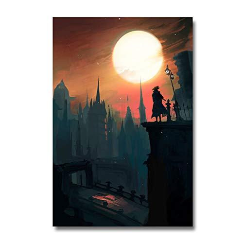 A&D Bloodborne Game PosterWandkunstDruck Gemälde Dekoration Bilder Tapete Wohnzimmer DekorDruck auf Leinwand -50x70cm Kein Rahmen
