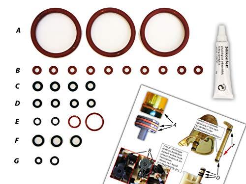 Dichtungen/Wartungsset (XL) für DeLonghi ECAM Brühgruppe & Thermoblock | O-Ringe | TOP Qualität (EPDM & VMQ) | Dichtungsringe inkl. Silikonfett und Bild-Übersicht