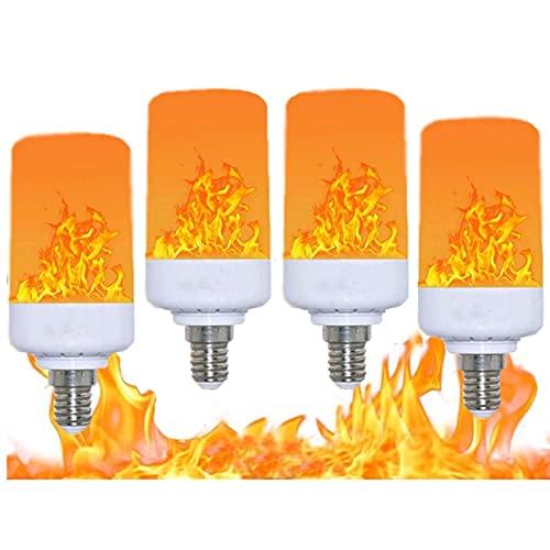 SHKUU Paquete 4 lámparas LED decoración emulación dinámica, Efecto Llama Parpadeante, para Bombilla Decorativa Creativa Llama para Bares/hogar/Halloween