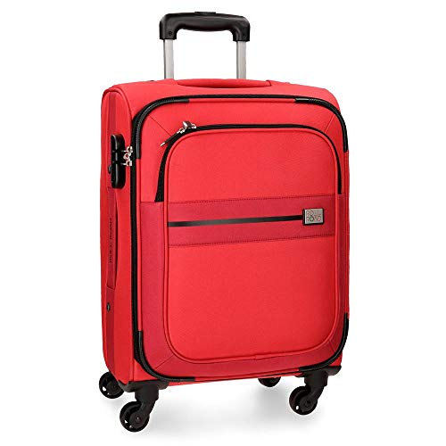 Roll Road Sicilia Maleta de cabina Rojo 38x55x20 cms Blanda Poliéster Cierre combinación 35L 2,6Kgs 4 Ruedas Equipaje de Mano
