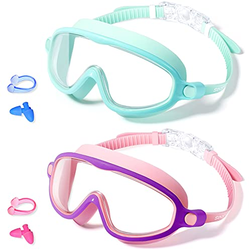 Seago 2 Pack Kids Swim Goggles, Anti-Fog UV Protection 180° Wide View Swimming Goggles, Swimming Masks Waterproof for Children Toddler and Boys Girls Teens Age 4-15, Pool Goggles Kids Swim Equipment