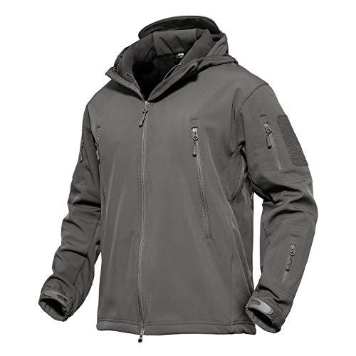 KEFITEVD Softshell Jacke Herren Winter Herbst Outdoorjacke Warm Jacke Übergangsjacke Viele Taschen Outdoor Jacke Atmungsaktiv mit Kapuze Army Jacket Grau L