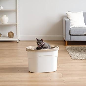 Iris Ohyama, Maison de toilette pour chat avec couvercle à trous, entrée par le haut et pelle - Top Entry Cat Litter Box - TECL-20, plastique, blanc, 52 x 37,5 x 36,5 cm , Beige