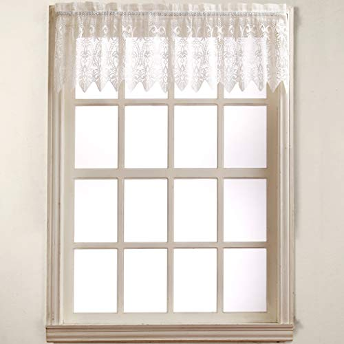 No. 918 Joy Classic Lace Kitchen Curtain Valance, 60' x 15', White