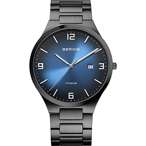 Bering Reloj analógico de cuarzo para hombre con correa de titanio y correa de titanio 15240-727