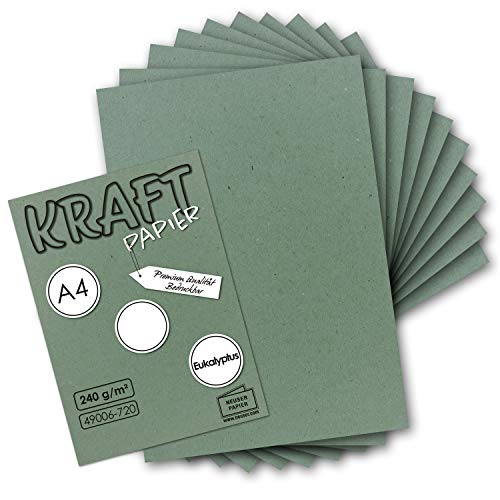 50x Vintage Kraftpapier in Eukalytpus-Grün - DIN A4 21 x 29,7 cm - 210 x 297 mm - 240 g/m² natur Recycling-Papier, 100% ökologisch Bastel-Karton UmWelt by GUSTAV NEUSER