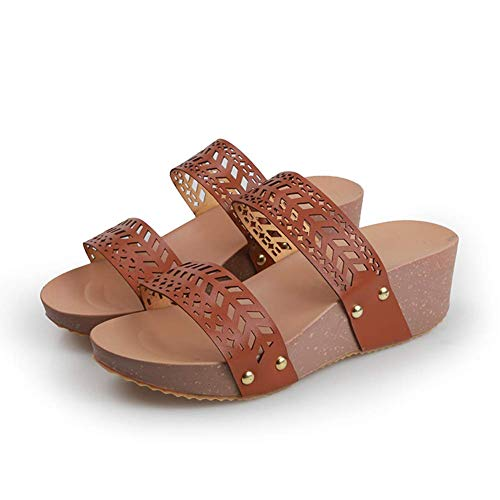 JFFFFWI Sandalias de Plataforma de cuña para Mujer, Sandalias de Verano con Puntera Abierta, Sandalias cómodas y Transpirables, Zapatos de Playa Antideslizantes Casuales para Mujer, marrón, 40