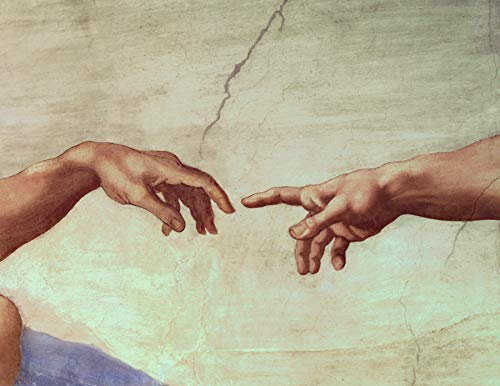 "Michelangelo Buonarroti Hands of God and Adam, Detail from The Creation of Adam, from The Sistine Ceiling Vatican Museums and Galleries, Vatican City, Italy 30"" x 23"" Fine Canvas Print (Unframed)"