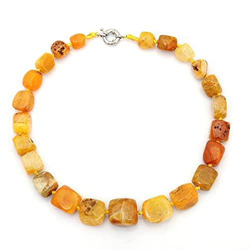 ZhaoZZ Collares Mujer Joven, Cornalina Colgante, Piedra Natural, Piedra De Ágata, Collar De Piedra, Collar Colgante De Cristal De Piedra Cruda (Color : Yellow)