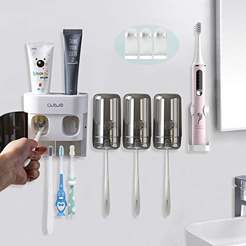 TuCao Multifunctional Toothbrush Holder Wall Mounted,Automatic Toothpaste Dispenser Squeezer Set with 3 Electric Toothbrush Holder,Dual Auto Toothpaste Dispensers (for Kid & Adult)&3 Cups (3-Cups)
