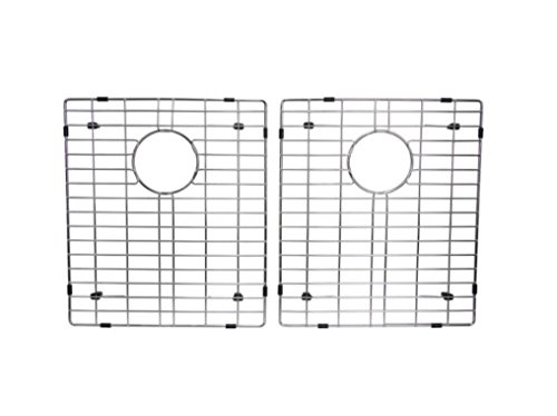 """Starstar 50/50 Double Bowl Kitchen Sink Bottom Two Grids, Stainless Steel, 16"""" x 14"""""""