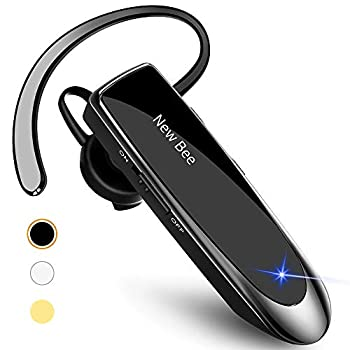 New bee Bluetooth Earpiece V5.0 Wireless Handsfree Headset with Microphone 24 Hrs Driving Headset 60 Days Standby Time for iPhone Android Samsung Laptop Trucker Driver  Black