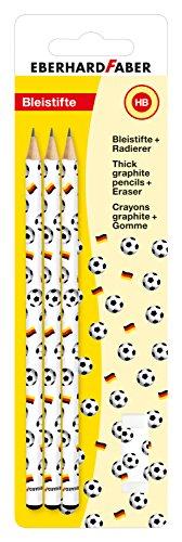 Eberhard Faber 511893 - Schreibset Fußball, mit 3 Bleistiften und Radierer