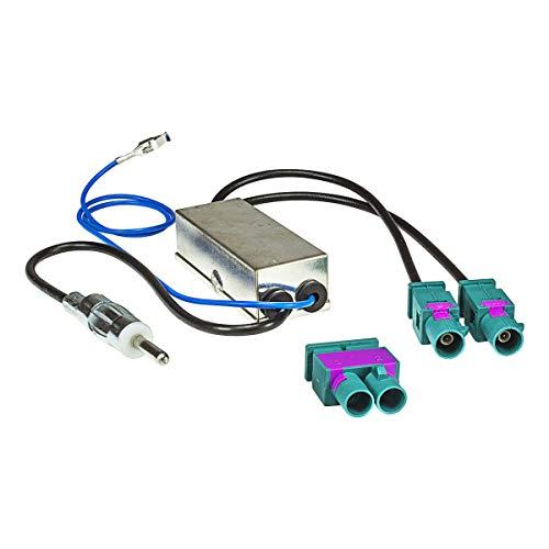 tomzz Audio 1503-006 Doppel Fakra Diversity Antennenadapter mit Phantomeinspeisung kompatibel mit Audi Seat Skoda VW Citroen Peugeot Opel auf DIN
