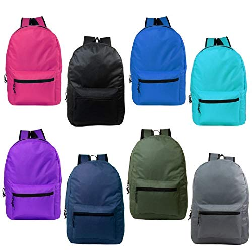 24 Pack - 17 Inch Wholesale Kids Basic Backpack in 8 Assorted Colors - Bulk Case of Bookbags