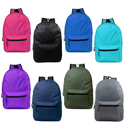 24 Pack - 17 Inch Wholesale Kids Basic Bulk Backpacks in 8 Assorted Colors - Case of Bookbags