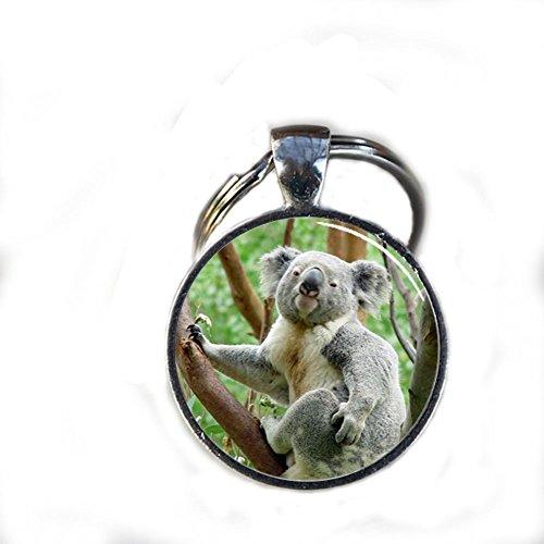 Llavero, diseño de koala, Gorgeous Llavero, Mimi llavero Koala charm diario clave Cadena, Regalo único llavero personalizado regalo plata Koala Encanto