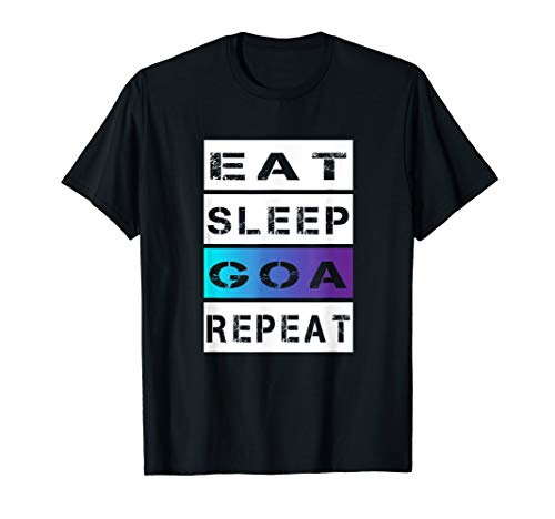 Herren Festival Outfit Eat Sleep Goa Repeat Psy Trance Party Musik T-Shirt
