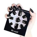Dr.Nail 24 Pcs Fake Nails Full Cover False Nails Press on Nails (Black)
