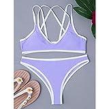 maozuzyy Bikinis Bañador Mujer Traje De Baño De Mujer Sexy Bikini De Mujer con Tanga Ropa De Playa-Purple_L