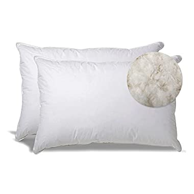 Extra Soft Down Filled Pillow for Stomach Sleepers w/ Cotton Casing 2 Pack - Filled and Finished in the USA, Set of 2 Standard
