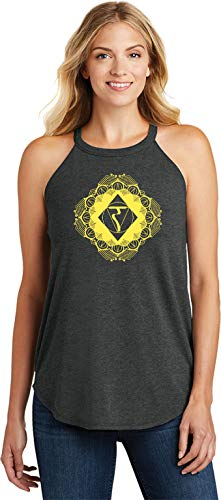 Diamond Manipura Ladies Triblend Yoga Rocker Tank Top, Black 2XL