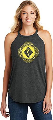 Diamond Manipura Ladies Triblend Yoga Rocker Tank Top, Black 2XL