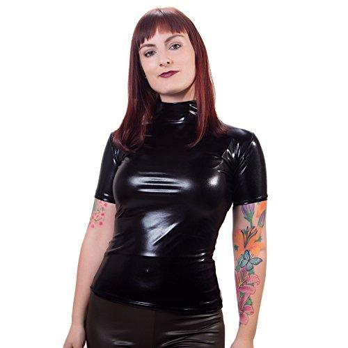 Rubberfashion Wetlook Hemd, glänzendes Wetlook Shirt mit kurzen Ärmeln für Frauen und Herren Menge: 1 Stück metallic Schwarz XXL