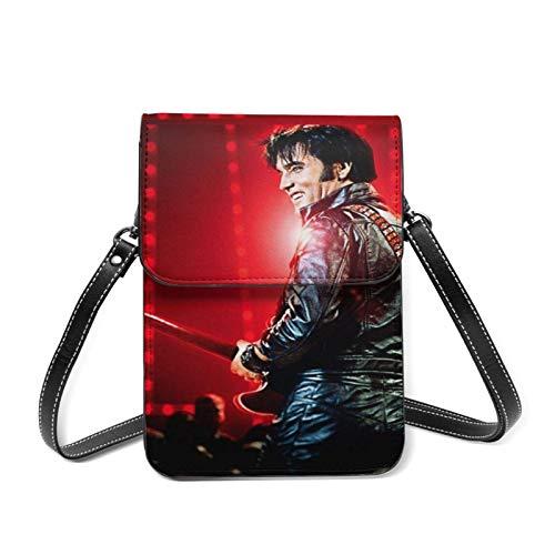 XCNGG Leichte Lederhandtasche für Frauen, El-vis Pre-sley Kleine Umhängetasche Mini-Handytasche Umhängetasche