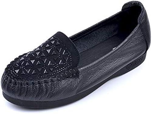 FLYRCX zapatos Planos Ocasionales cómodos Casuales del Rhinestone de la Parte Inferior de Cuero zapatos de Trabajo de los zapatos de Las señoras Solos