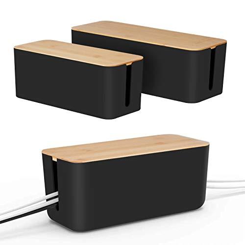 [Set of 2] Kabel-Management-Box von Baskiss, Holzdeckel, Kabel-Organizer für Schreibtisch-TV-Computer, USB-Hub-System zum Abdecken und Verstecken sowie für Steckdosenleisten und Kabel (Schwarz)