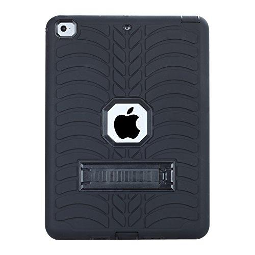 beimu Neue iPad 2017iPad 24,6cm Schutzhülle, Ständer Funktion Robustes stoßfest saugfähig Dual Layer Hard Gummi Schutz Case Cover mit Stylus für Apple New iPad 24,6cm All/Black 9.7 inch