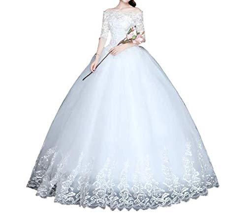 Vestido De Noiva Princesa Manga Bordado Três Quartos Renda Oferta (50)