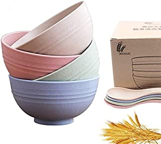 BTF-ZD 4 Pcs Unbreakable Wheat Straw Bowls - 24 OZ Fiber Lightweight Bowl,Eco Friendly Cereal Bowls,perfect for Soup,Cerea...