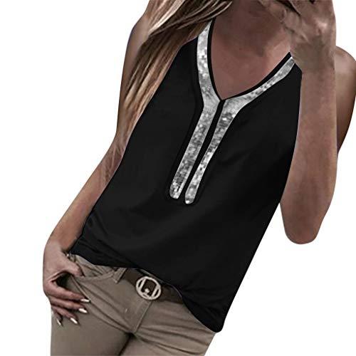 AmyGline Tank Top Damen T Shirt Oberteile V-Ausschnitt Kurzärm Pailletten Ärmellos Weste Cami Crop Top Blusen Tunika Tanktop