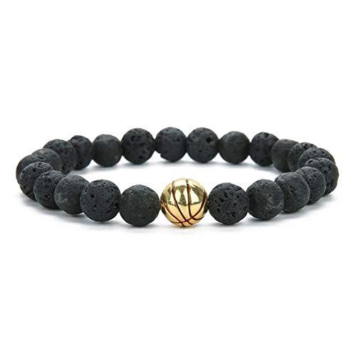 OPALQKN Lava Rock Stein Perlen Armbänder Basketball Armband Für Männer Frauen Basketball Spiel Geschenk Für Ihn