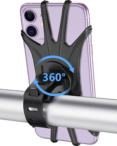 Bike Phone Mount, VUP Universal Bike Cell Phone Holder, 360° Rotatable, Silicone Bicycle Phone Mount Compatible with iPhone 12/Pro/mini/11/Xs/Max/Xr/X/7/8/Plus, 4.0''~6.7'' Cellphones